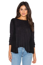 Heather Cotton And Gauze Long Sleeve Swing Top Black