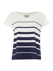 Dickins And Jones Navy Graduated Stripe Tee