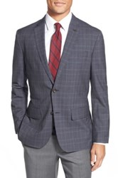 Wallin And Bros Trim Fit Plaid Wool Sport Coat Blue