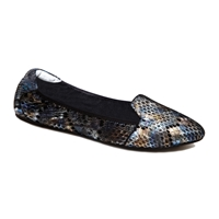 Farringdon Snake Leather Foldable Ballerina Blue