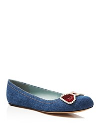 Marc Jacobs Caroline Sequin Bow Ballerina Flats Denim