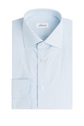 Brioni Striped Cotton Button Down Blue