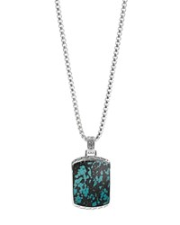 John Hardy Men's Sterling Silver Classic Chain Large Dog Tag Pendant Necklace With Turquoise 26 Black Turquoise