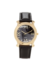 Forever 21 Rhinestone Faux Leather Watch Black Gold