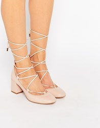 Carvela Aid Nude Suede Ghillie Lace Up Mid Heel Shoes Pale Pink