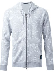 Guild Prime Printed Front Pocket Zip Up Hoodie Grey