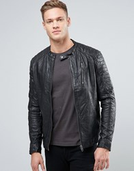 Jack And Jones Vintage Leather Biker Jacket Black