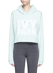 Ivy Park Logo Print French Terry Cropped Hoodie Green