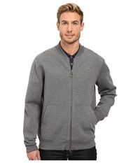 Lacoste L Ve Long Sleeve Double Face Hybrid Bomber Sweatshirt Medium Grey Jaspe Men's Sweatshirt Gray