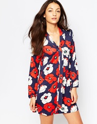 Vero Moda Tie Front Shirt Dress In Poppy Print Flowerprint