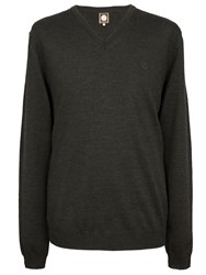 Pretty Green Hanover V Neck Sweater Charcoal