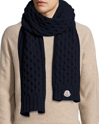 Moncler Cable Knit Cashmere Scarf Navy