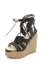 Paloma Barcelo Lorence Wedge Lace Up Sandals Black
