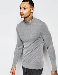 Asos Extreme Muscle Rib Long Sleeve T Shirt With Turtle Neck Grey