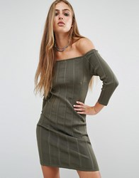 Rock And Religion Erin Off Shoulder Rib Dress Khaki Green