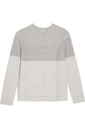 Vince Color Block Ribbed Wool And Cashmere Blend Sweater Gray