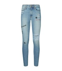 Paige Hoxton High Rise Embroidered Skinny Jeans Female Blue
