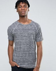 Only And Sons Crew Neck T Shirt With Raglan Sleeve Mixed Yarn Stripe Grey