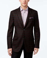 Tallia Men's Big And Tall Slim Fit Charcoal Red Check Sport Coat