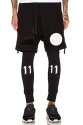 11 By Boris Bidjan Saberi Felted Wool Shorts With Patches Black