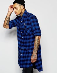 Vivienne Westwood Anglomania Longline Checked Shirt With Padded Detail Blue