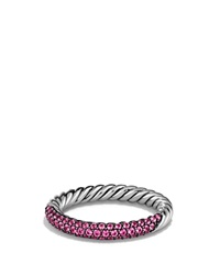 David Yurman Petite Pave Ring With Pink Sapphires Silver Pink