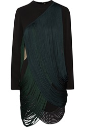 Stella Mccartney Gustavo Fringed Stretch Cady Dress Black