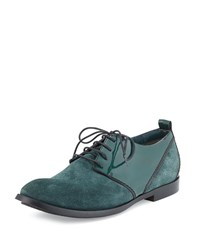 Cnc Costume National Suede And Patent Leather Lace Up Oxford Forest Green