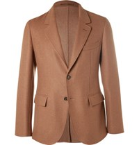 Caruso Brown Slim Fit Camel Hair Blazer Tan