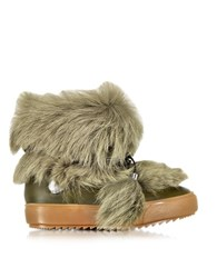 Emilio Pucci Safari Green Leather And Fur Ankle Boot