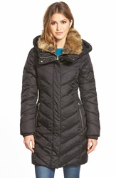 Dkny Chevron Quilted Down And Feather Fill Parka With Faux Fur Trim Inset Bib Black