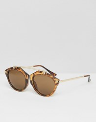 Asos Round Sunglasses With Metal Brow Bar And No Nose Tort Brown
