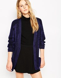 Le Mont St Michel Printed Wool Cardigan Navy