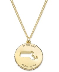 Kate Spade New York State Of Mind Gold Tone State Cutout Pendant Necklace Massachusetts