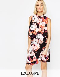 Gestuz Aya High Neck Dress In Floral Print Pink Floral