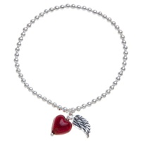Martick Heart And Angel Wing Bracelet Red