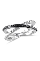 Two Tone Black Diamond Crisscross Band 0.05 Ctw Metallic