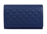 Dents Ladies Quilted Flap Over Purse Royal Blue