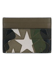 Valentino Garavani Camustars Leather Card Holder Green
