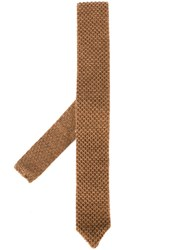 Lardini Woven Neck Tie Brown