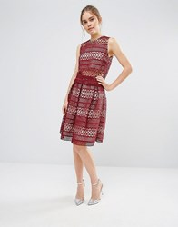 Endless Rose Lace Pleated Skirt Burgundy Red