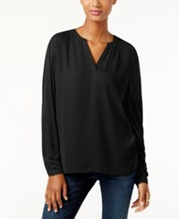 Inc International Concepts Dolman Sleeve Split Neck Top Only At Macy's Deep Black