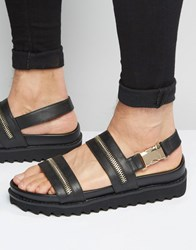 Asos Sandals In Black With Gold Zips Black