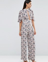 Love Choker Neck Printed Jumpsuit With Kimono Sleeve Wallpaper Floral Multi