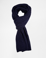 French Connection Scarf In Cable Knit Blue