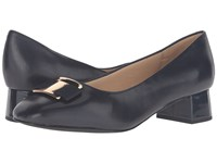 Trotters Louise Navy Glazed Kid Leather Women's Shoes Black