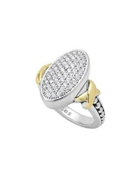 Lagos Sterling Silver Caviar And 18K Gold Oval Pave Diamond Ring Size 7