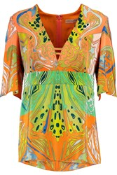 Emilio Pucci Printed Silk Crepe De Chine Top Orange