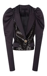 Elie Saab Paillettes Smocking Jacket With Satin Juliet Sleeves Black