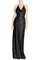 Women's Nouvelle Amsale 'Honora' Draped Sequin Tulle Halter Gown Black